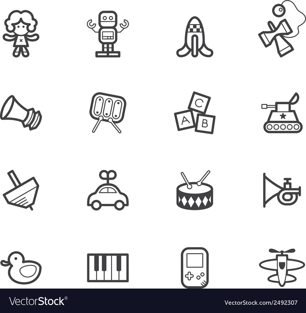 Baby toys black icon set on white background vector