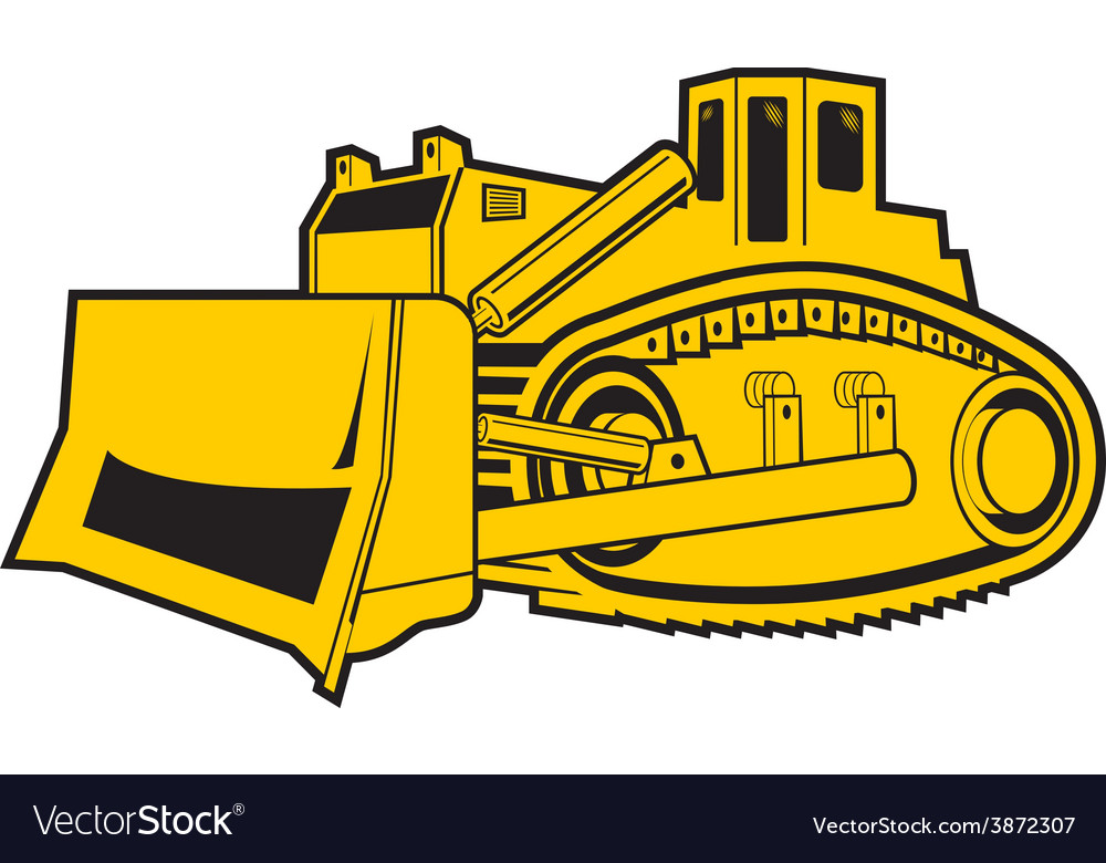 Bulldozer isolated on white background vector | Price: 1 Credit (USD $1)