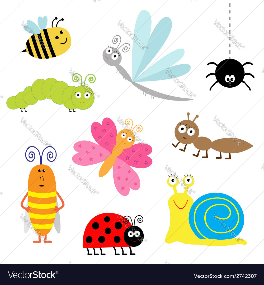 Cartoon insect set ladybug dragonfly butterfly vector | Price: 1 Credit (USD $1)