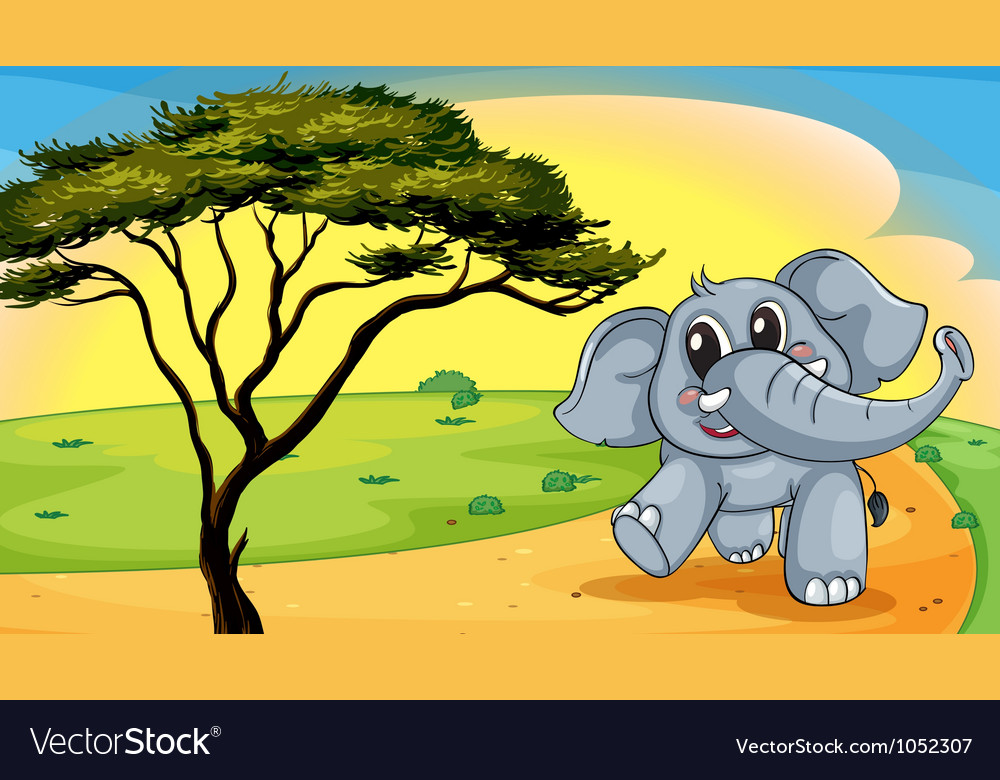 Elephant under a tree vector | Price: 1 Credit (USD $1)