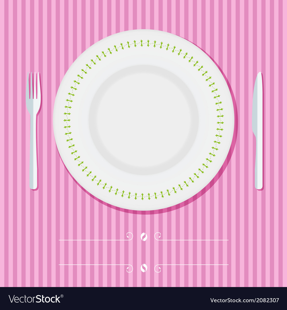 Place setting with plate knife and fork vector | Price: 1 Credit (USD $1)