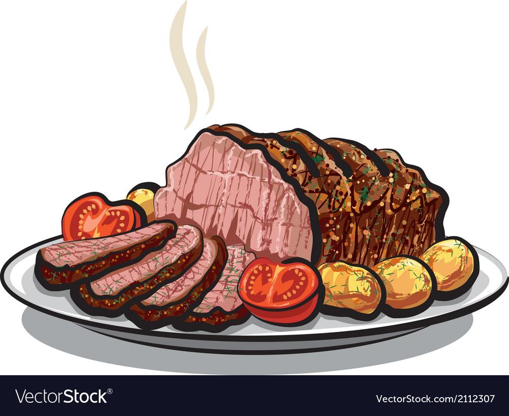 Roast beef with potatoes vector | Price: 3 Credit (USD $3)