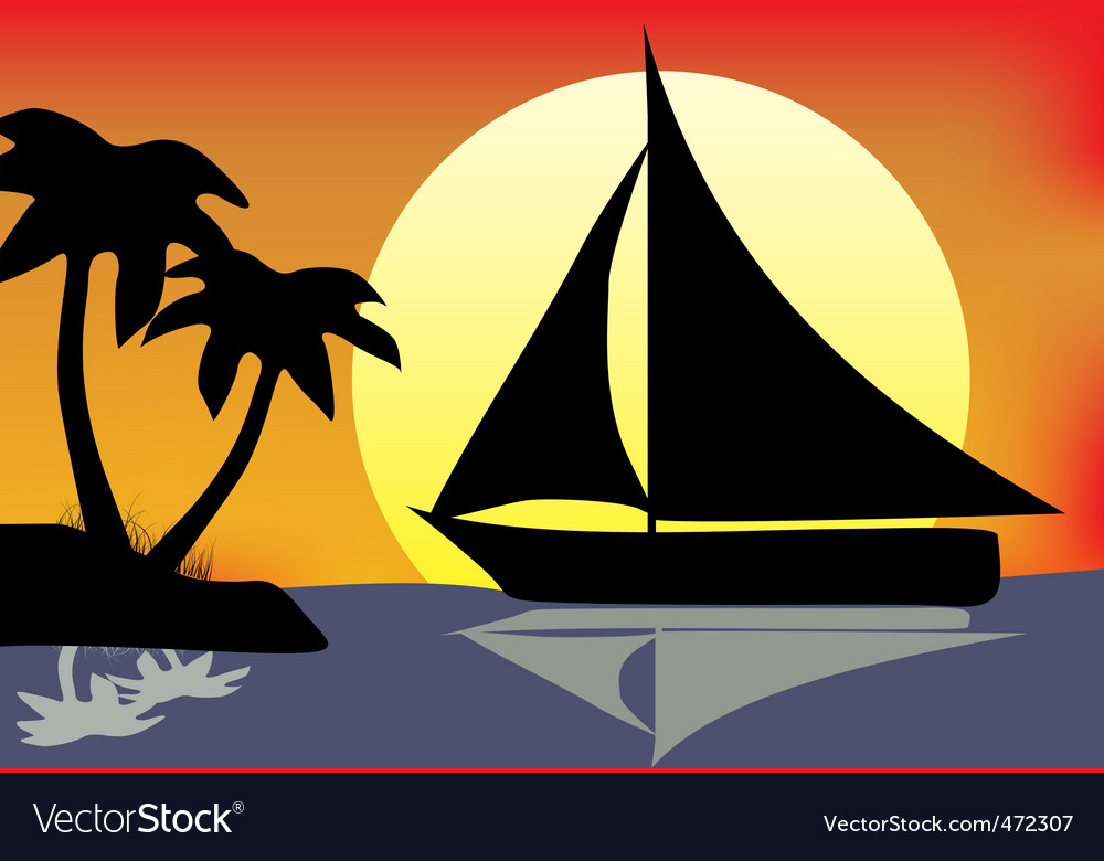Silhouette boat vector | Price: 1 Credit (USD $1)