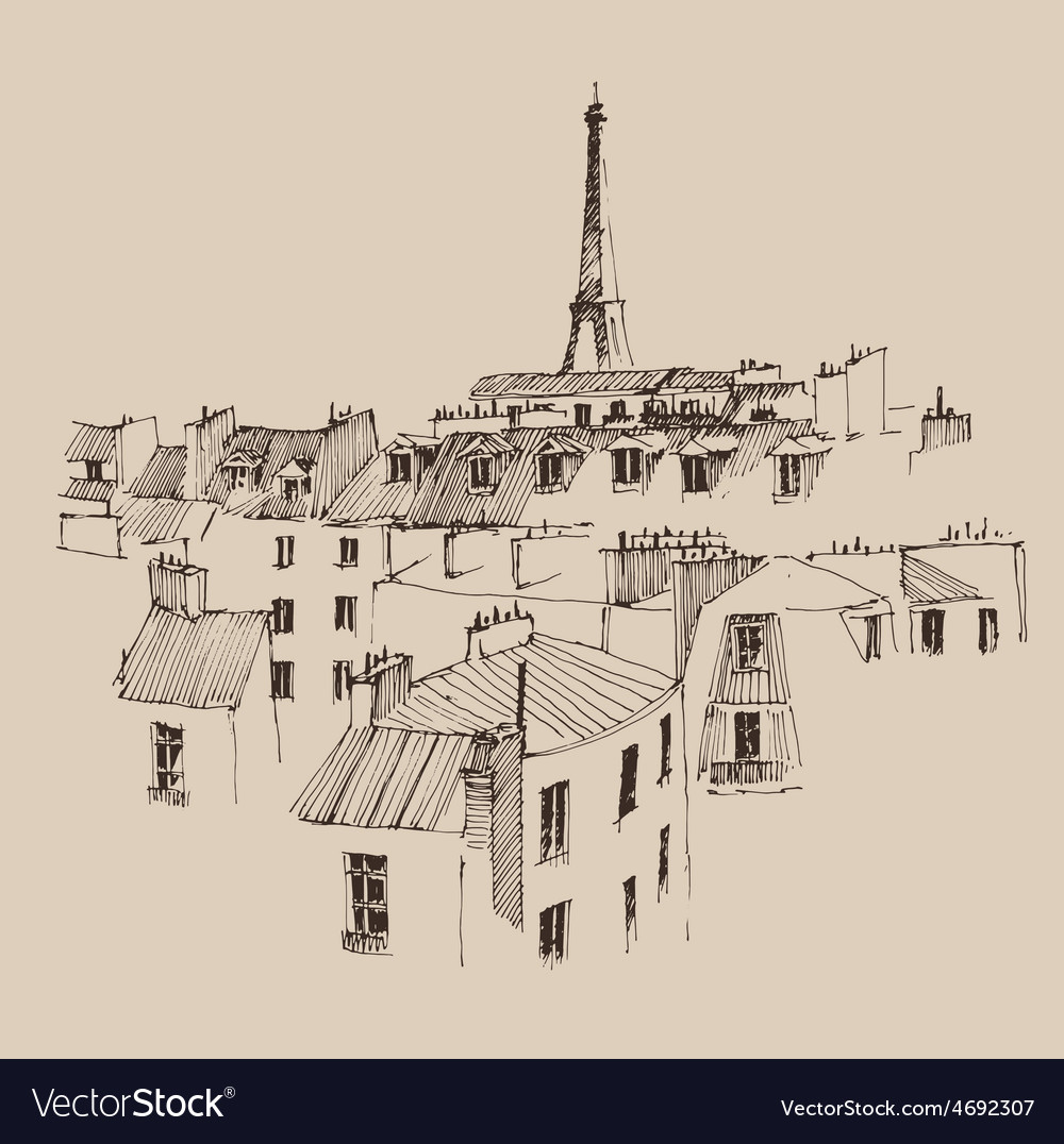 Streets in paris france vintage engraved vector | Price: 1 Credit (USD $1)