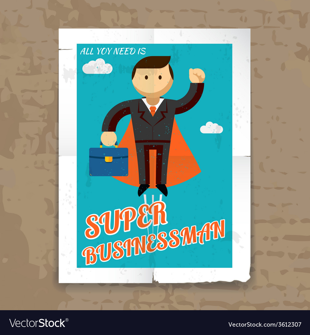 Super businessman with cape and briefcase graphic vector | Price: 1 Credit (USD $1)