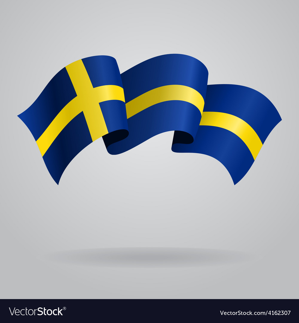 Swedish waving flag vector