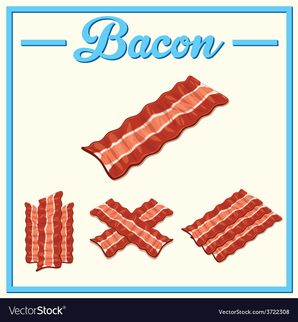 Bacon set hand drawn bacon vector | Price: 1 Credit (USD $1)