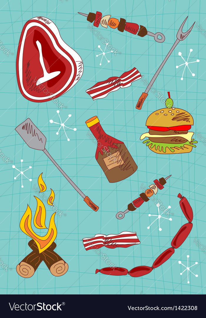 Cartoon barbecue icons set vector | Price: 1 Credit (USD $1)