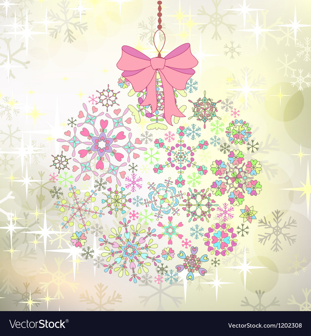 Christmas card with ball of colorful stylized vector | Price: 1 Credit (USD $1)