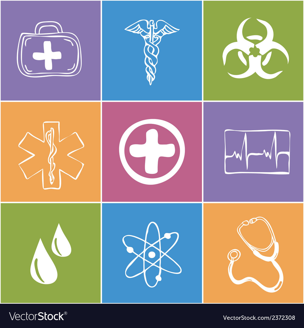 Colored medical icons vector | Price: 1 Credit (USD $1)