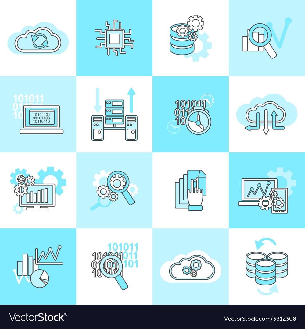 Database analytics icons flat vector | Price: 1 Credit (USD $1)