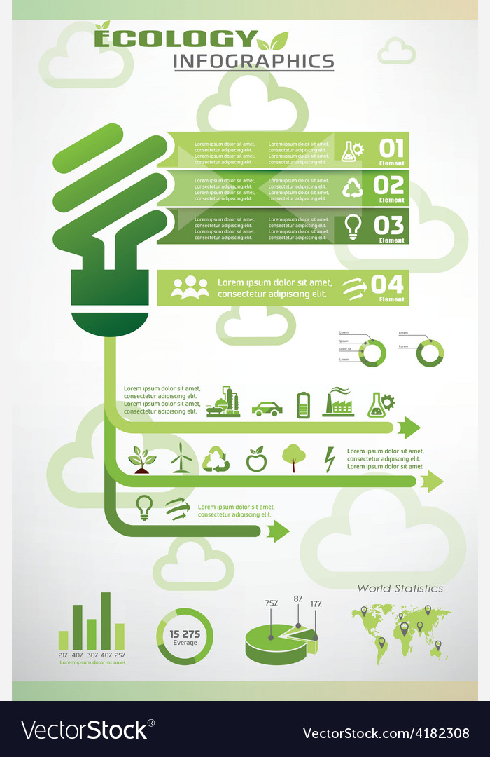 Ecology infographics icons collection vector | Price: 1 Credit (USD $1)