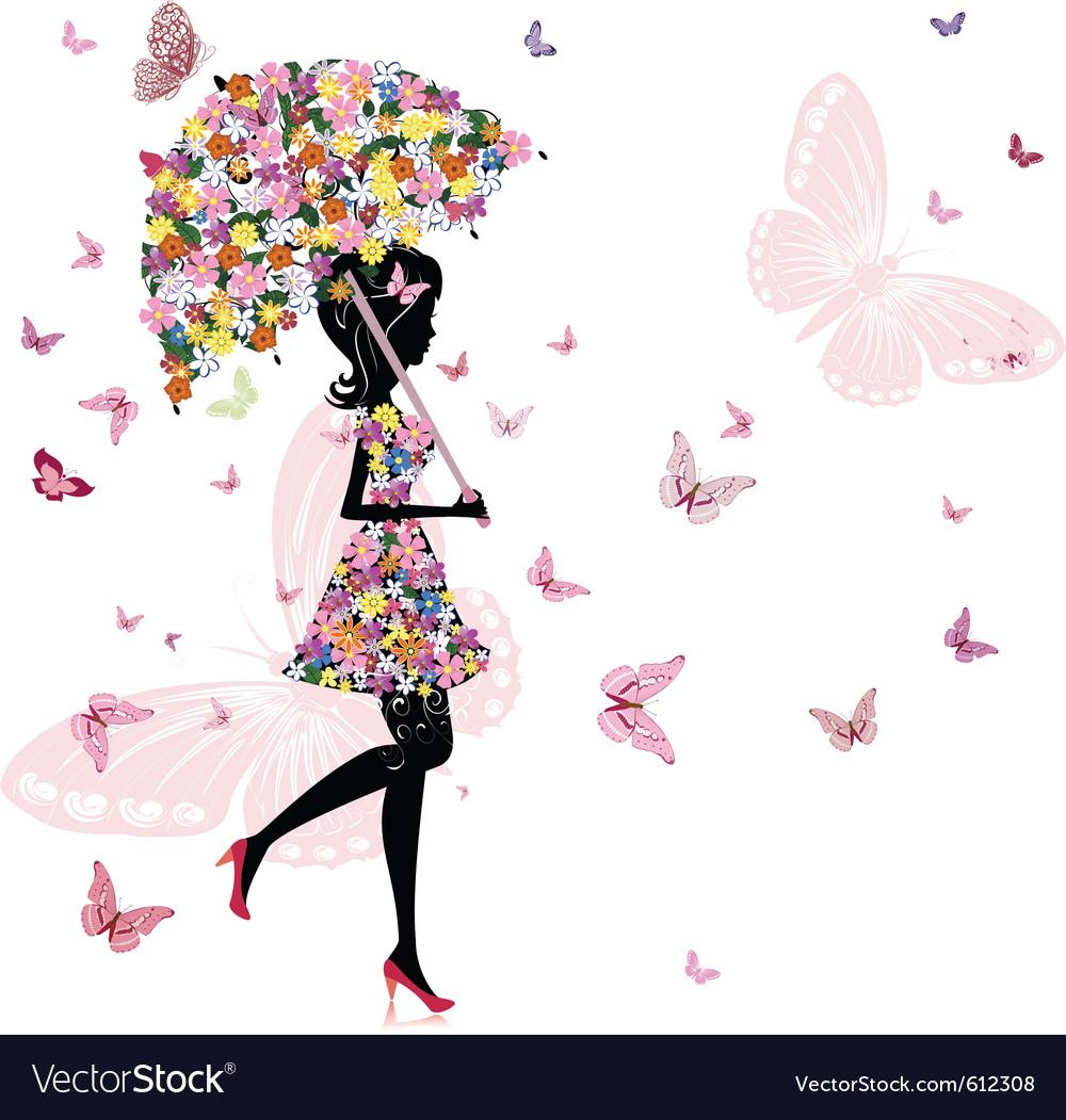 Flower girl with umbrella vector