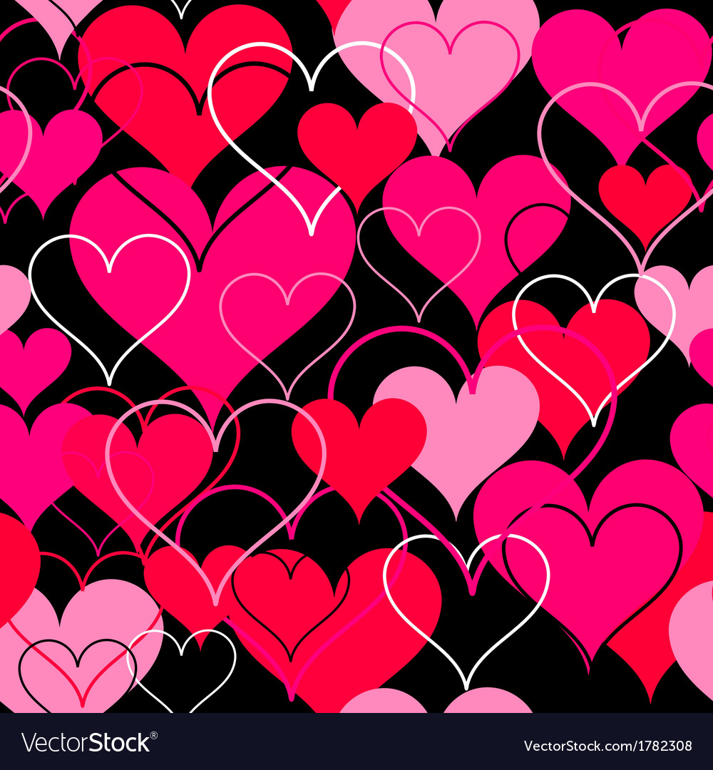 Hearts pink seamless background vector | Price: 1 Credit (USD $1)