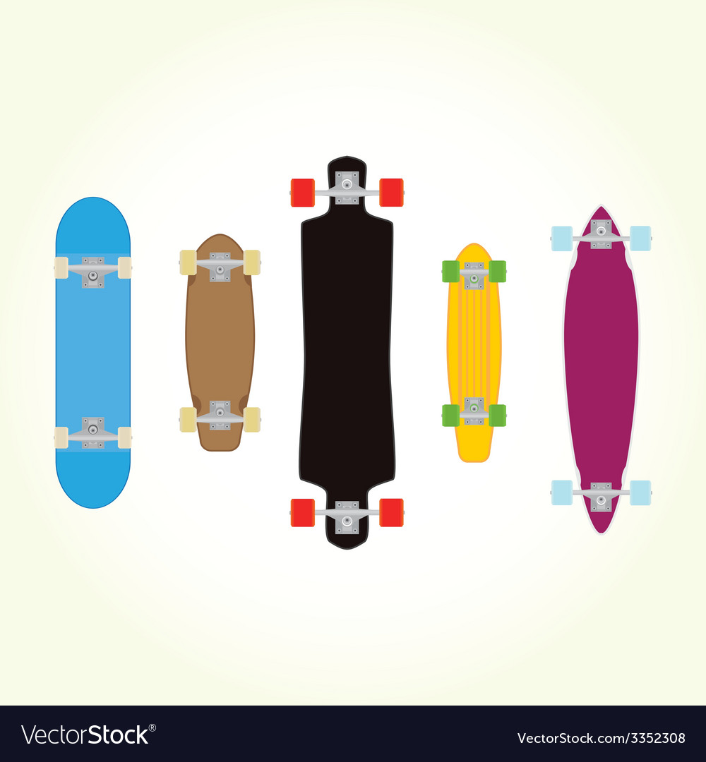 Skateboard and long board shapes isolated vector | Price: 1 Credit (USD $1)