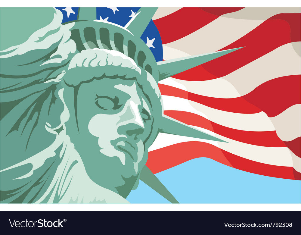 Statue of liberty in new york usa flag vector | Price: 1 Credit (USD $1)