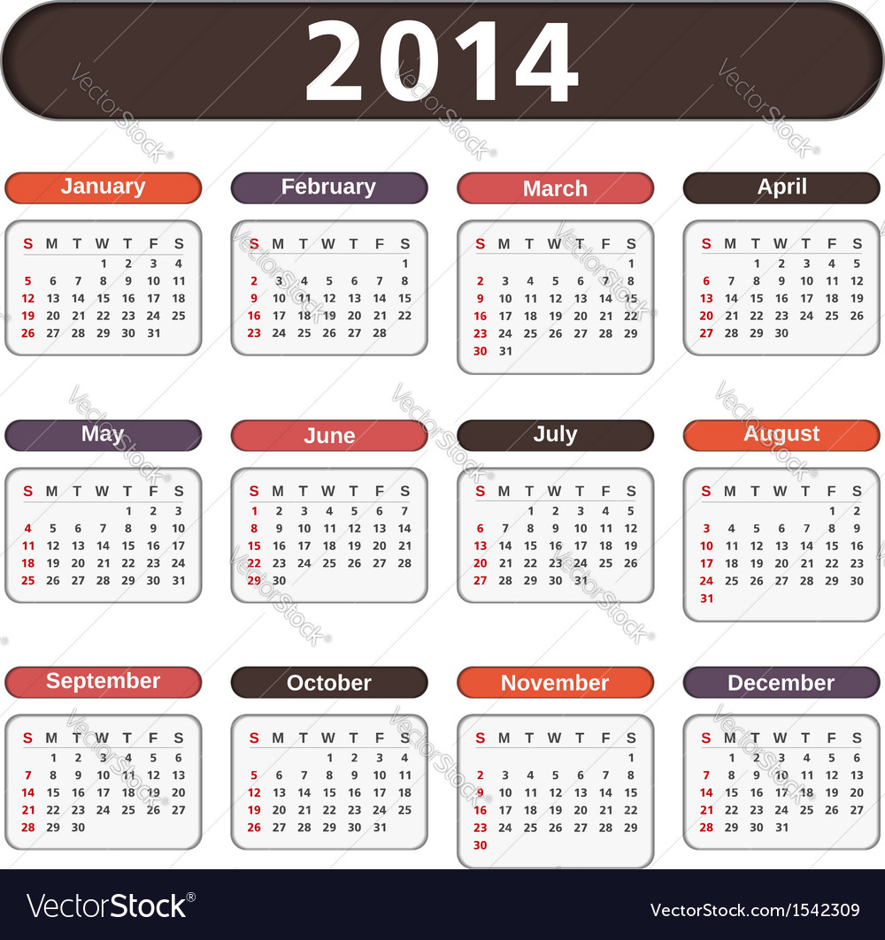 2014 calendar vector | Price: 1 Credit (USD $1)