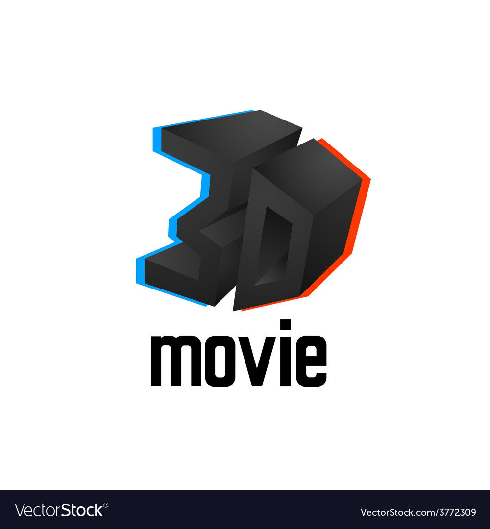 3d movie logo icon cinema design template with vector | Price: 1 Credit (USD $1)
