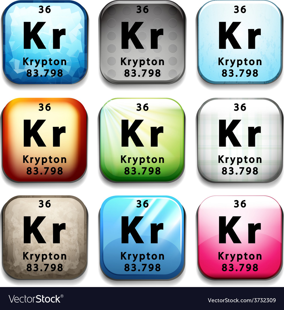 A button showing the element krypton vector | Price: 1 Credit (USD $1)
