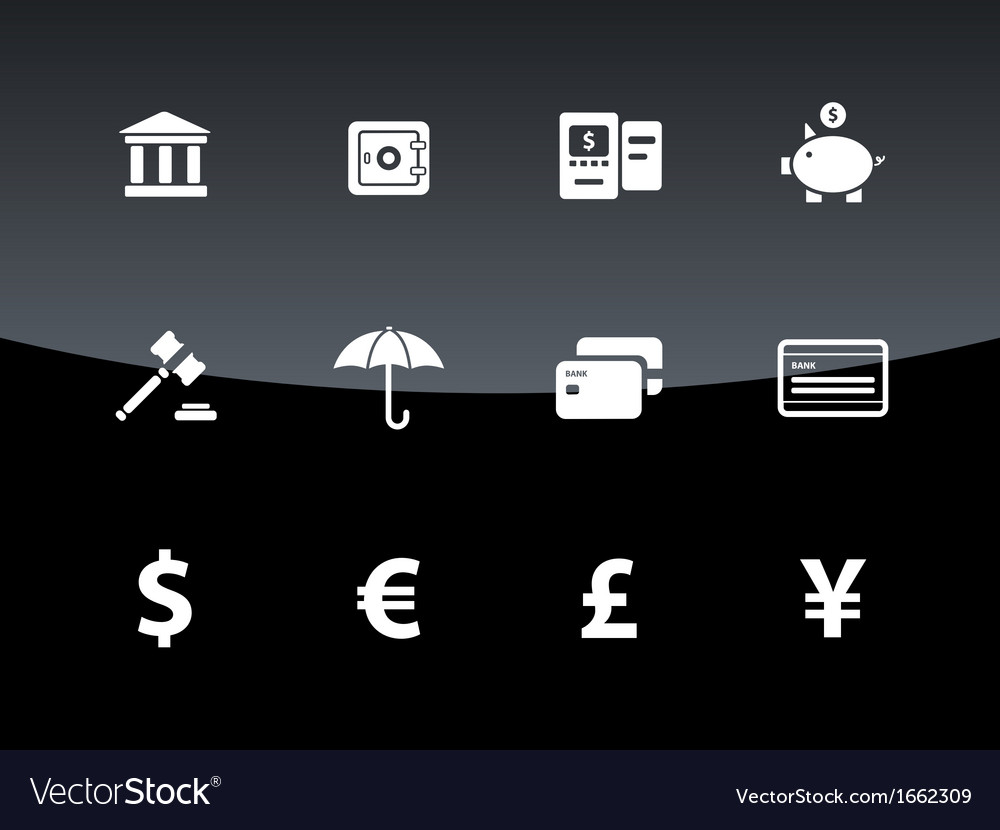 Banking icons on black background vector | Price: 1 Credit (USD $1)