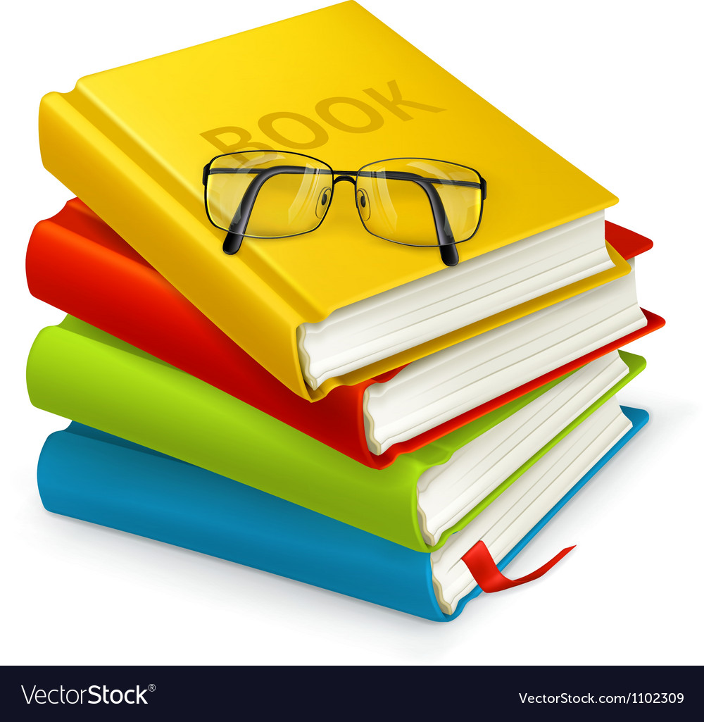 Books and glasses vector | Price: 1 Credit (USD $1)