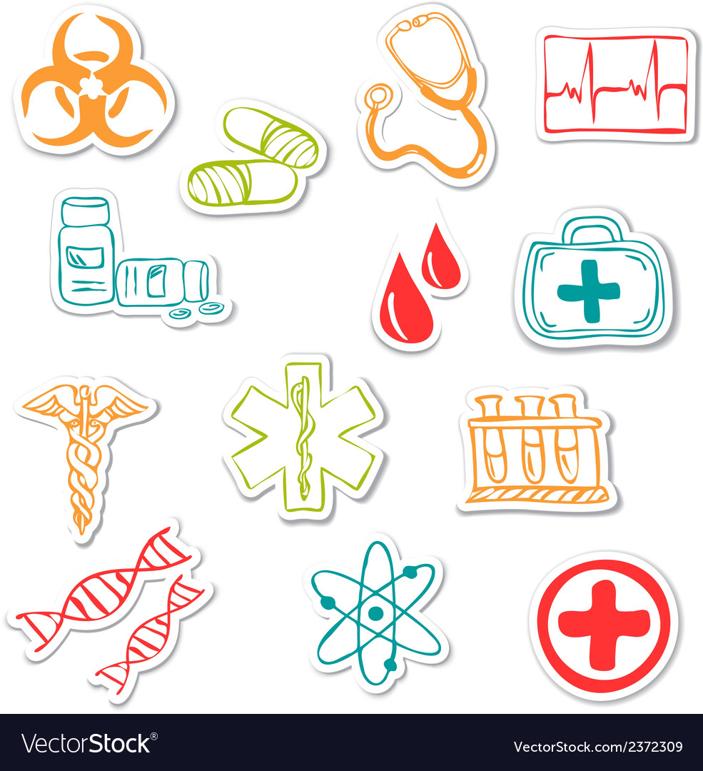 Colored medical stickers vector | Price: 1 Credit (USD $1)