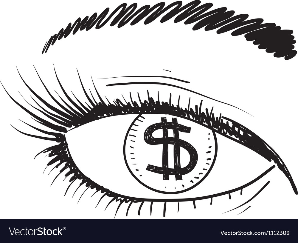 Doodle eye iris money greed vector | Price: 1 Credit (USD $1)