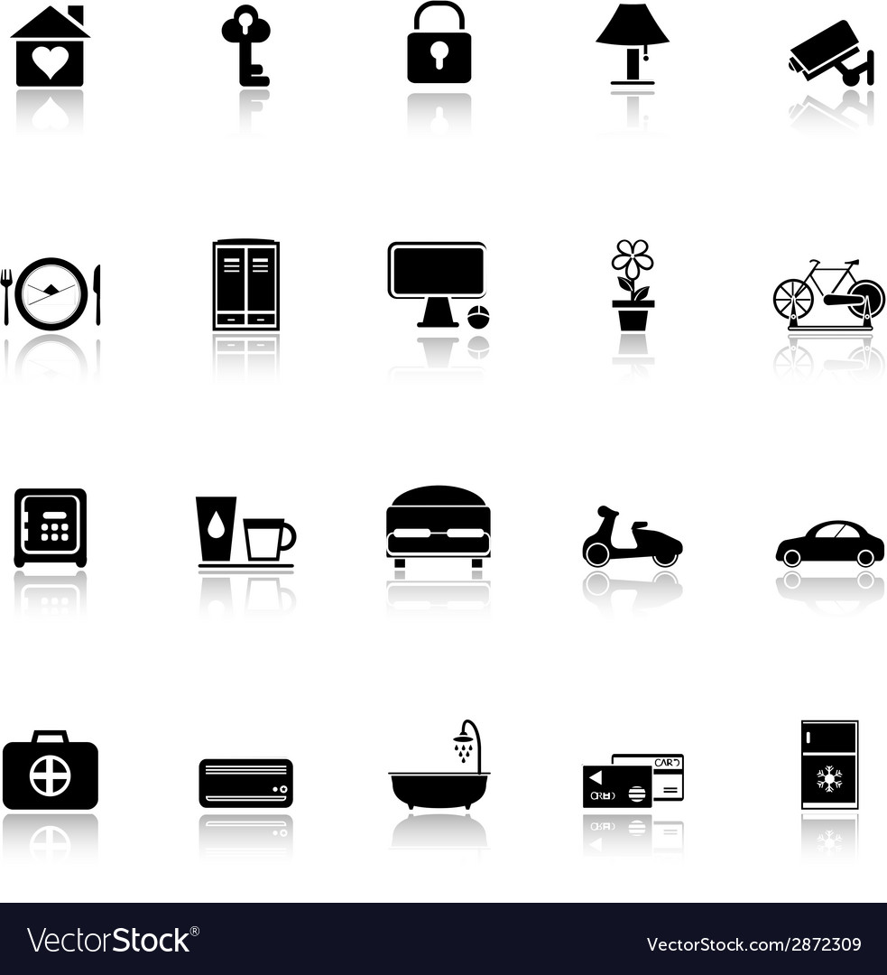 General home stay icons with reflect on white vector | Price: 1 Credit (USD $1)