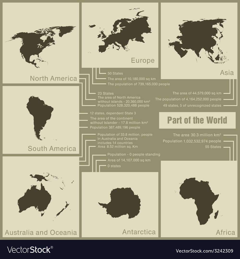 Infographics parts of the world in the earth vector | Price: 1 Credit (USD $1)