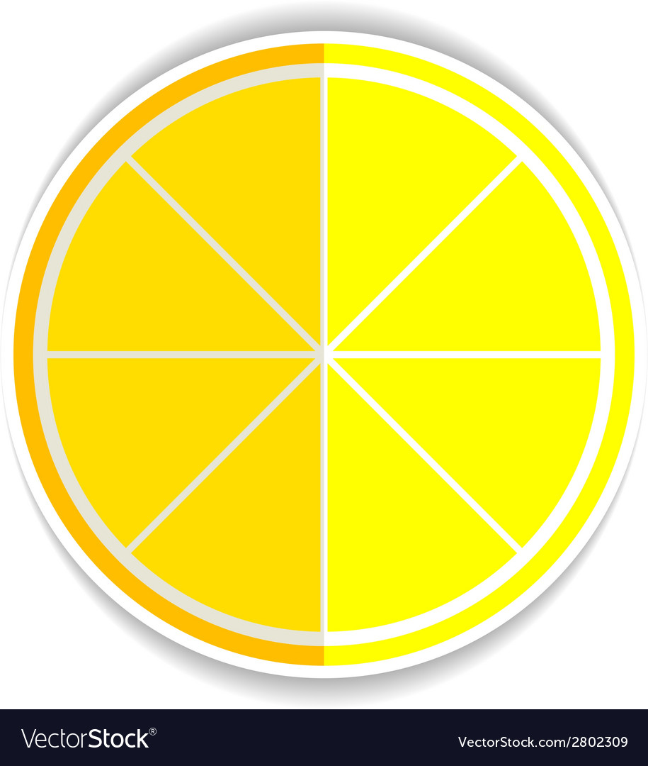 Lemon orange fruit flat icon yellow ripe lemon vector | Price: 1 Credit (USD $1)