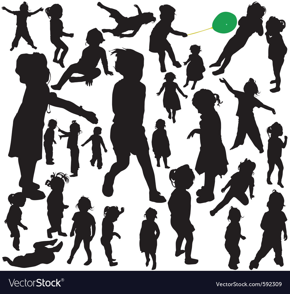 Little girl silhouettes vector | Price: 1 Credit (USD $1)