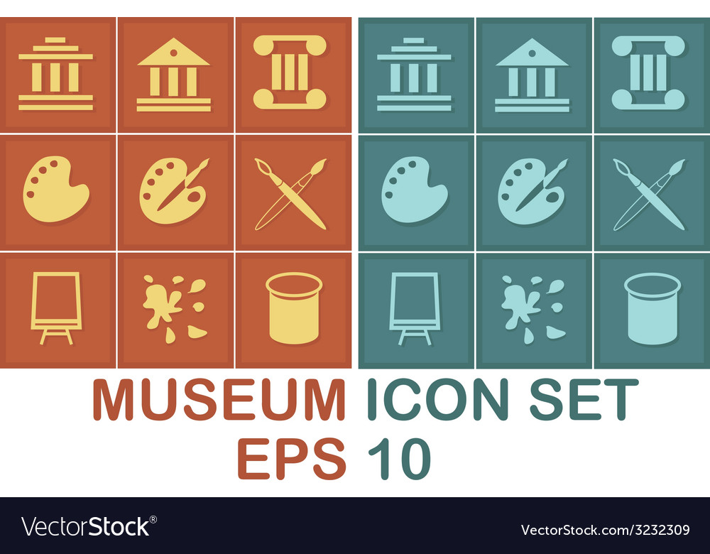 Museum icon set on brown and blue background vector | Price: 1 Credit (USD $1)