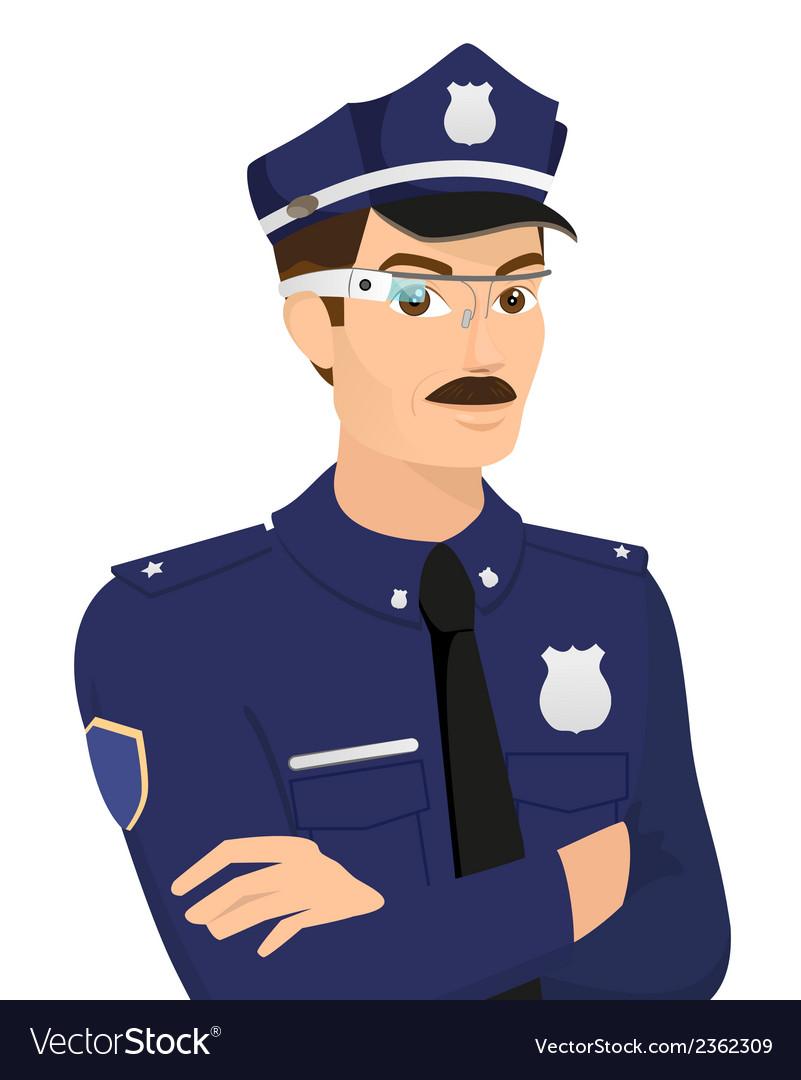 Policeman wearing smartglasses vector | Price: 1 Credit (USD $1)
