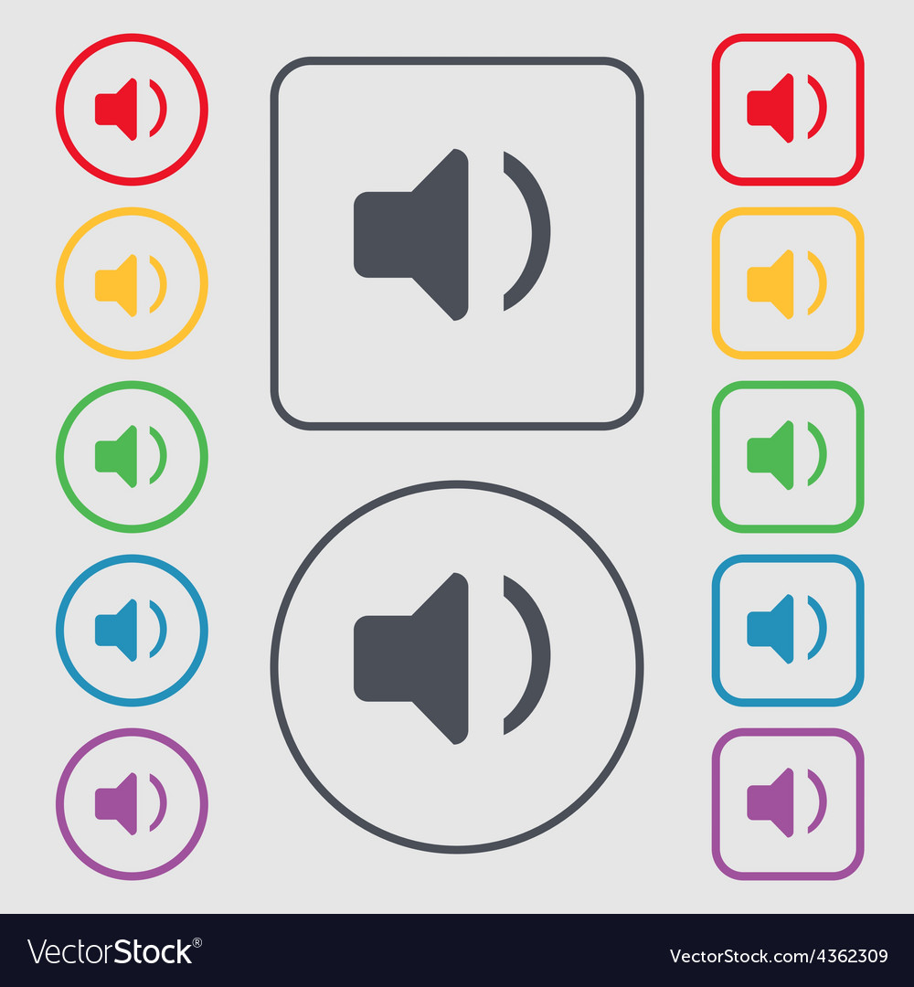 Speaker volume sound icon sign symbol on the round vector | Price: 1 Credit (USD $1)