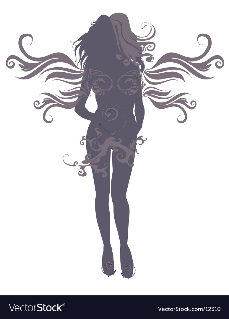 Angel silhouette vector | Price: 1 Credit (USD $1)
