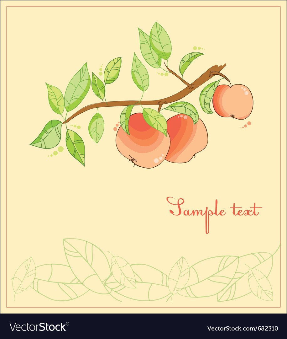 Apple tree postcard vector | Price: 1 Credit (USD $1)