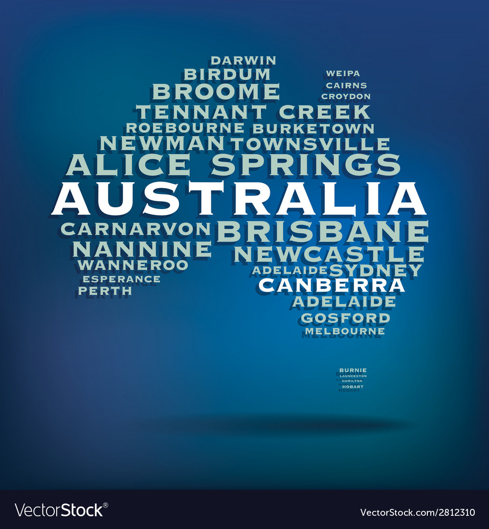 Australia map made with name of cities vector | Price: 1 Credit (USD $1)