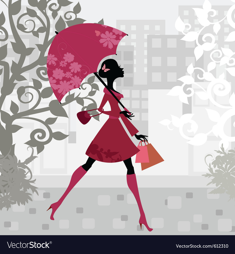 Beautiful woman with umbrella vector | Price: 1 Credit (USD $1)