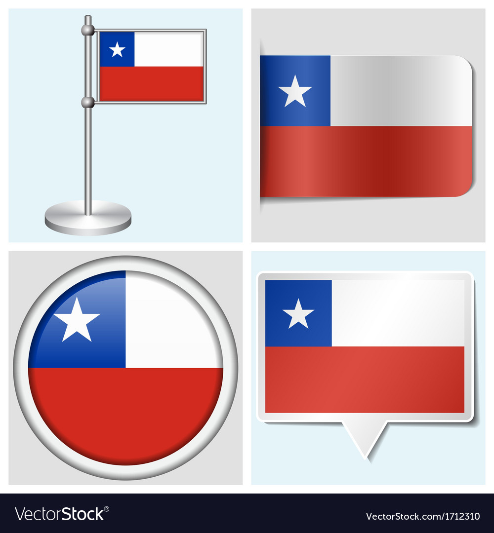Chile flag - sticker button label flagstaff vector | Price: 1 Credit (USD $1)