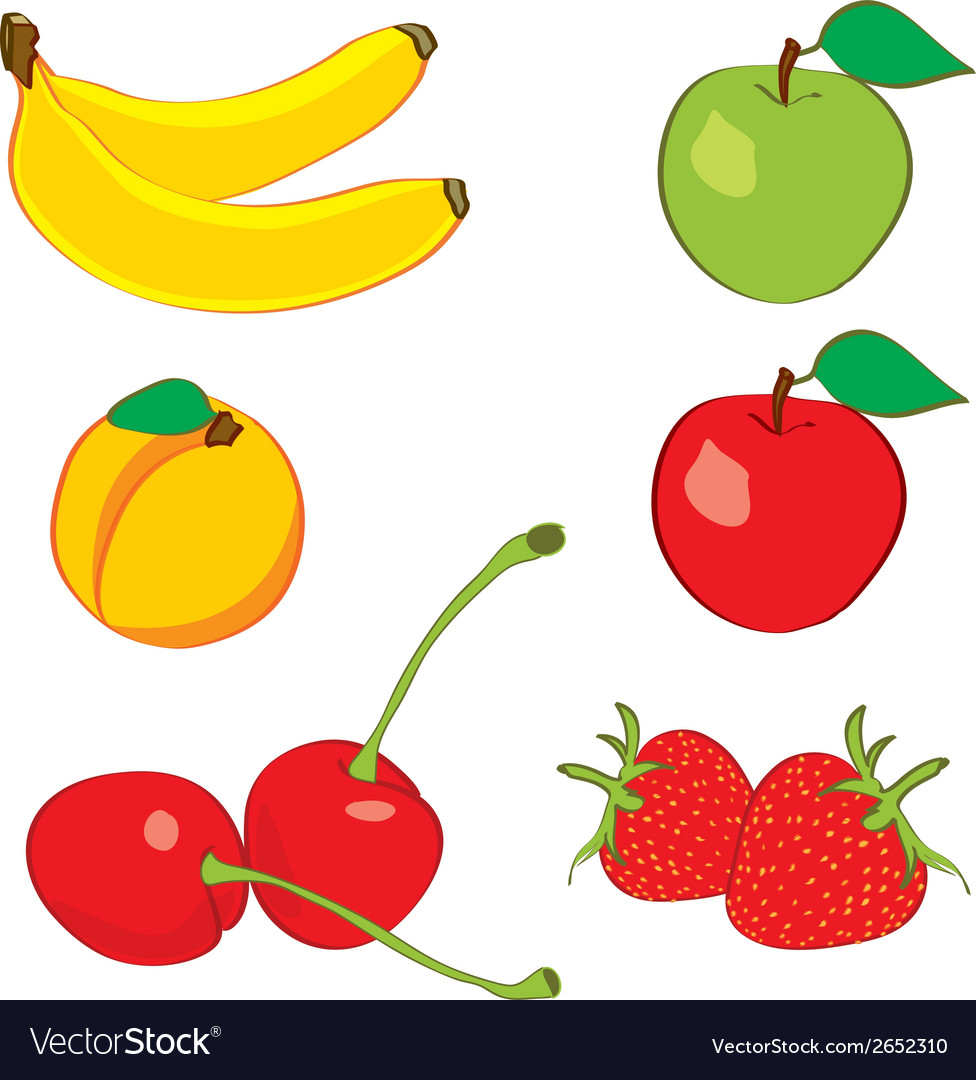 Colorful fruits in hand drawn sketch vector | Price: 1 Credit (USD $1)