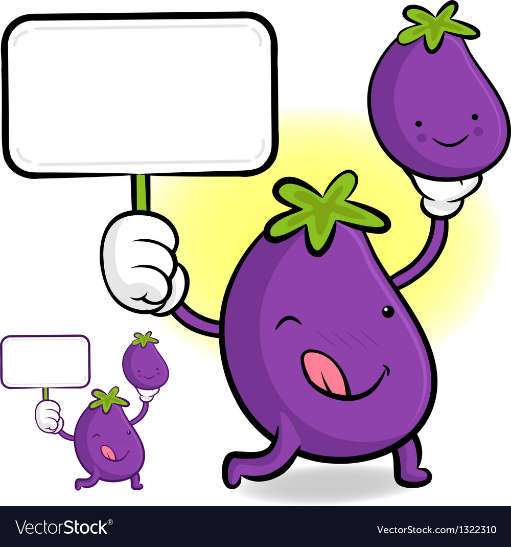 Eggplant characters to promote vegetable selling vector | Price: 1 Credit (USD $1)