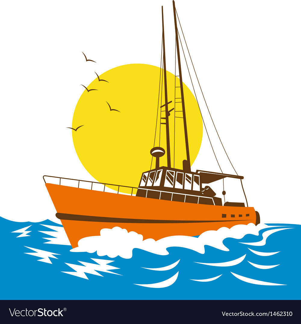Fishing boat at sea vector   Price: 1 Credit (USD $1)
