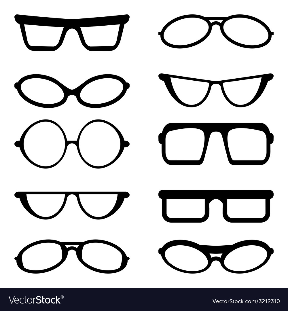 Glasses and sunglasses silhouettes vector | Price: 1 Credit (USD $1)