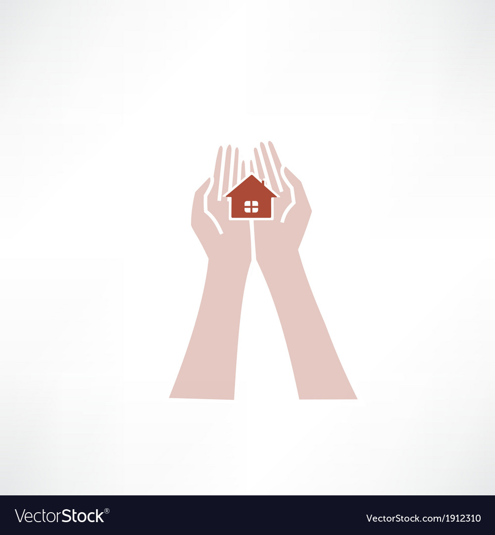 Hands holding small house icon vector | Price: 1 Credit (USD $1)