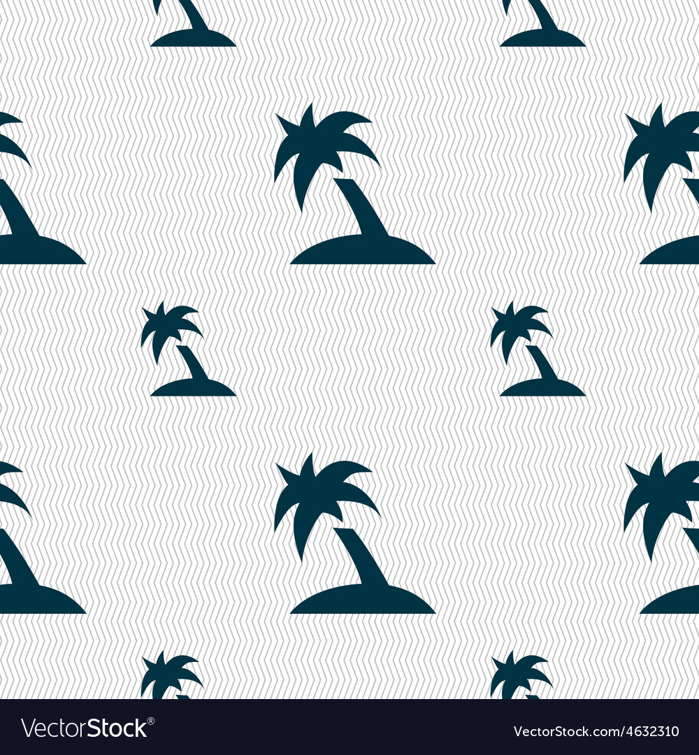 Palm tree travel trip icon sign seamless pattern vector | Price: 1 Credit (USD $1)