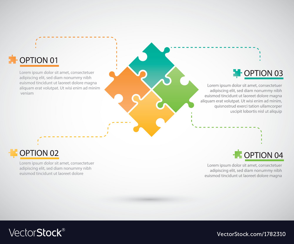 Puzzle piece infographics business vector | Price: 1 Credit (USD $1)