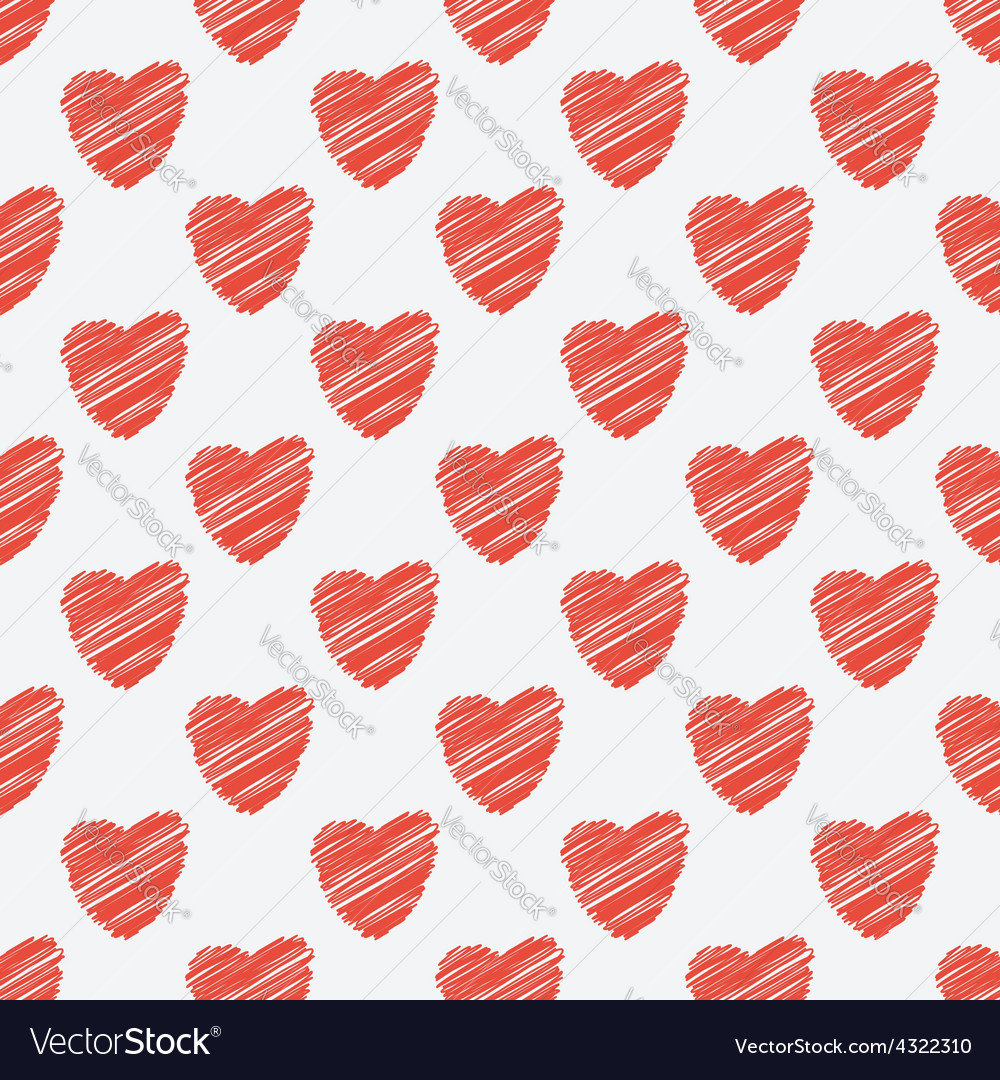 Red hearts seamless pattern vector | Price: 1 Credit (USD $1)