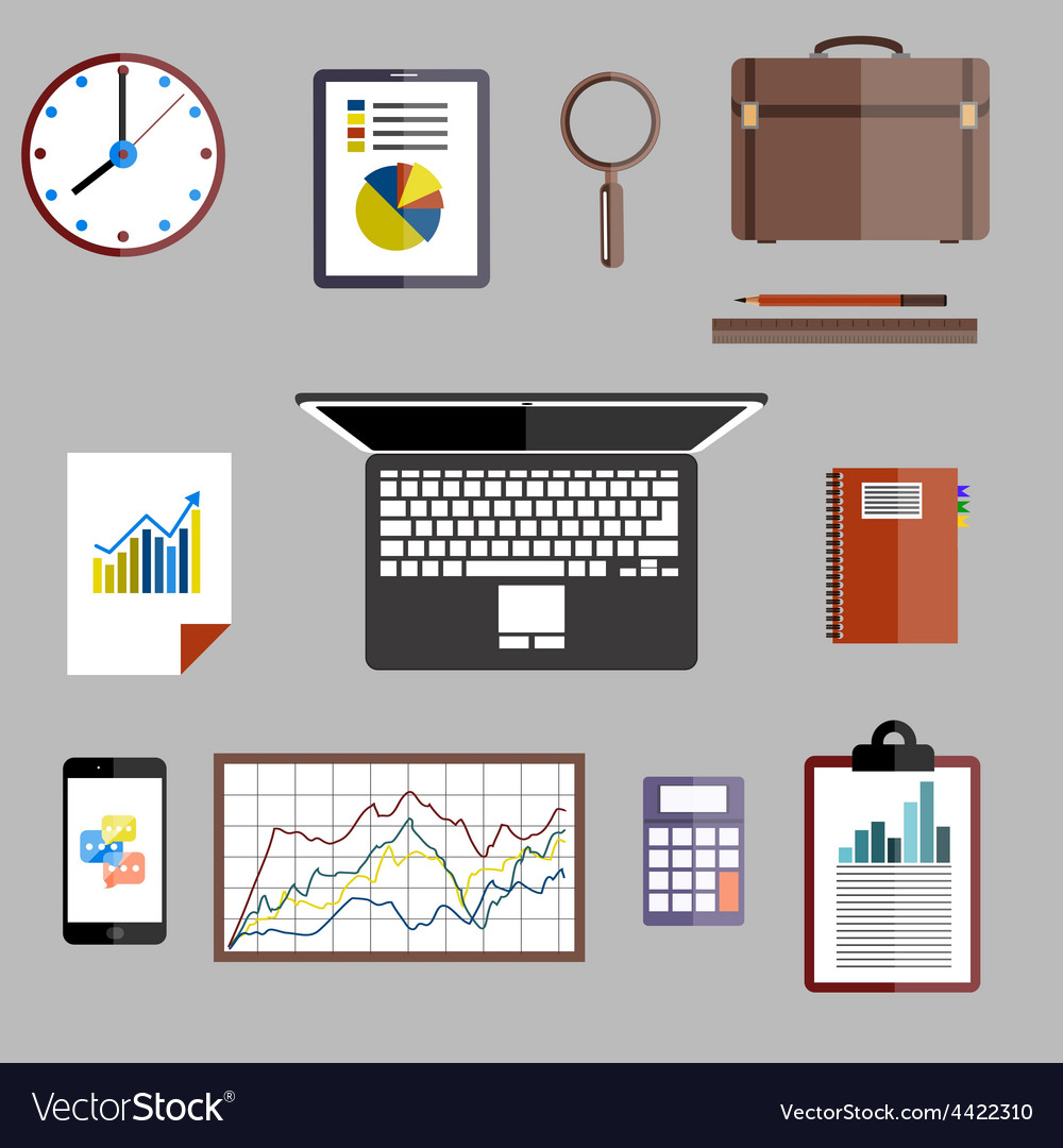 Set of working and educational equipment vector | Price: 1 Credit (USD $1)