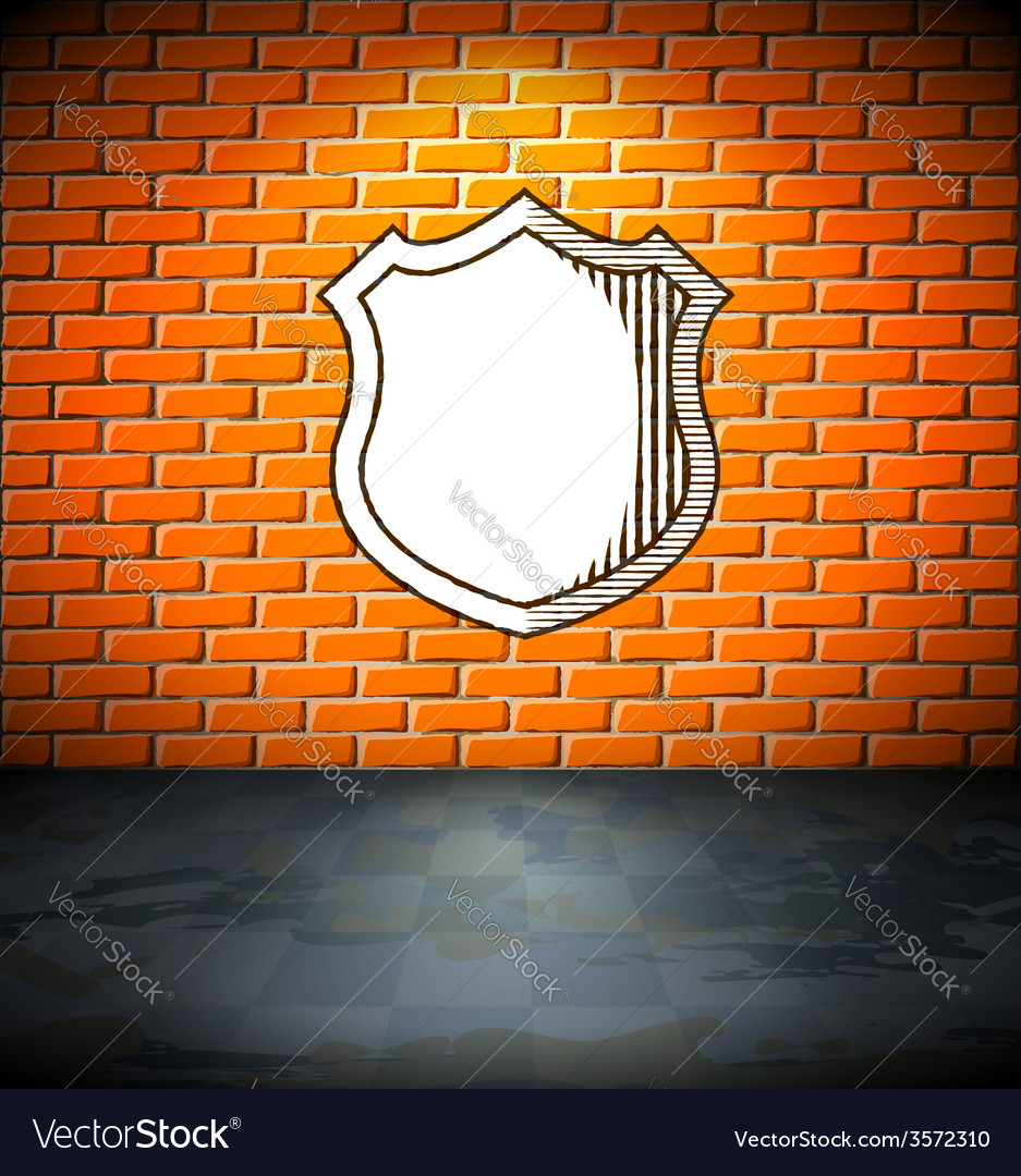 Shield on the brick wall vector | Price: 1 Credit (USD $1)