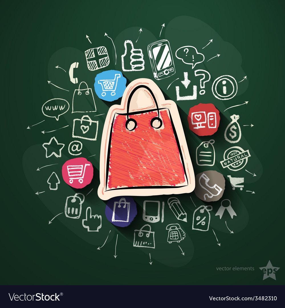 Shopping collage with icons on blackboard vector